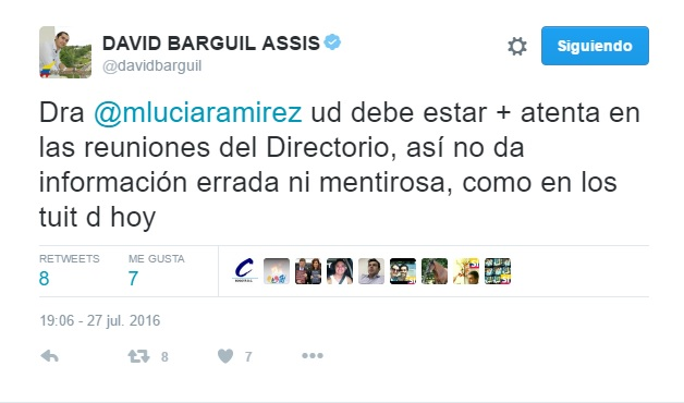 Barguil le responde a Marta Lucía R