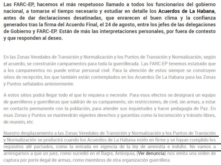 FARC NO SE DESPLAZARÁ